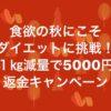 1㎏減量毎に5000円返金!講座参加者は倍額!